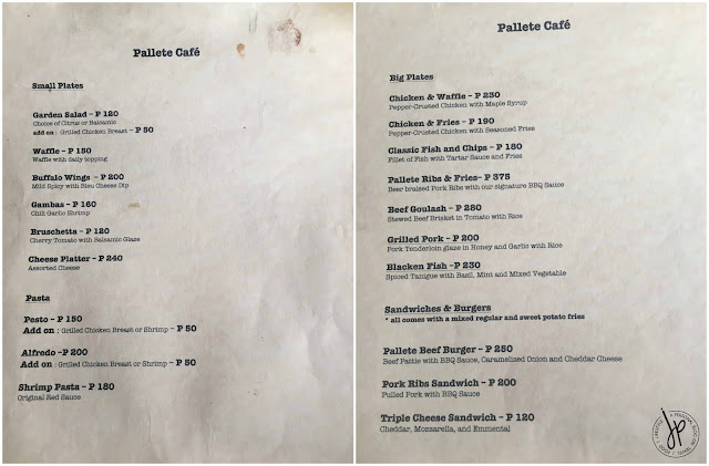 Pallete Cafe Menu 1