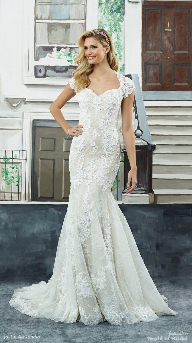 Justin Alexander Spring 2018 Allover Lace Fit and Flare Gown with Keyhole Back and Sleeves