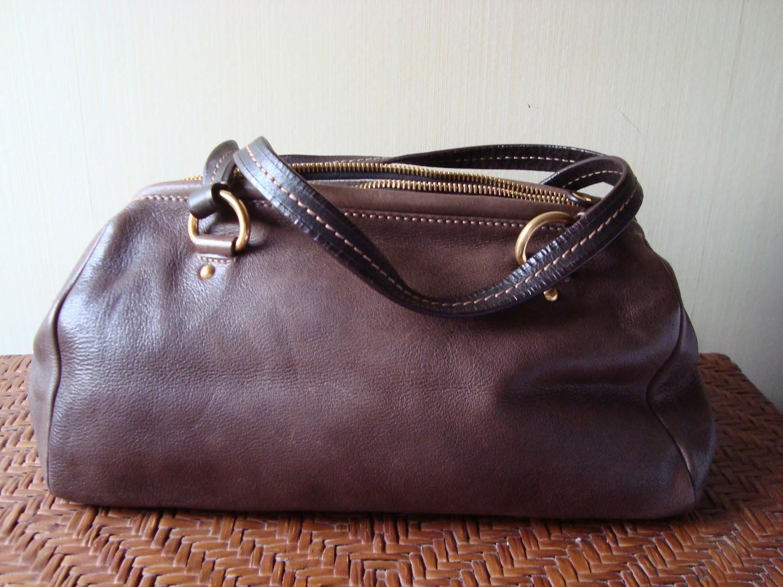 Car Shoe: Prada Dark Brown Leather Handbag