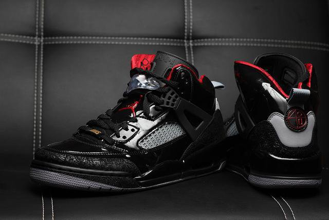 buy popular f0d4c 94b62 Air Jordan Spizike Patent Black Stealth Jordan has the legendary detailing  from Jordan 1-5 models, see sole unit, lace holders and the rubber pull  tongue.