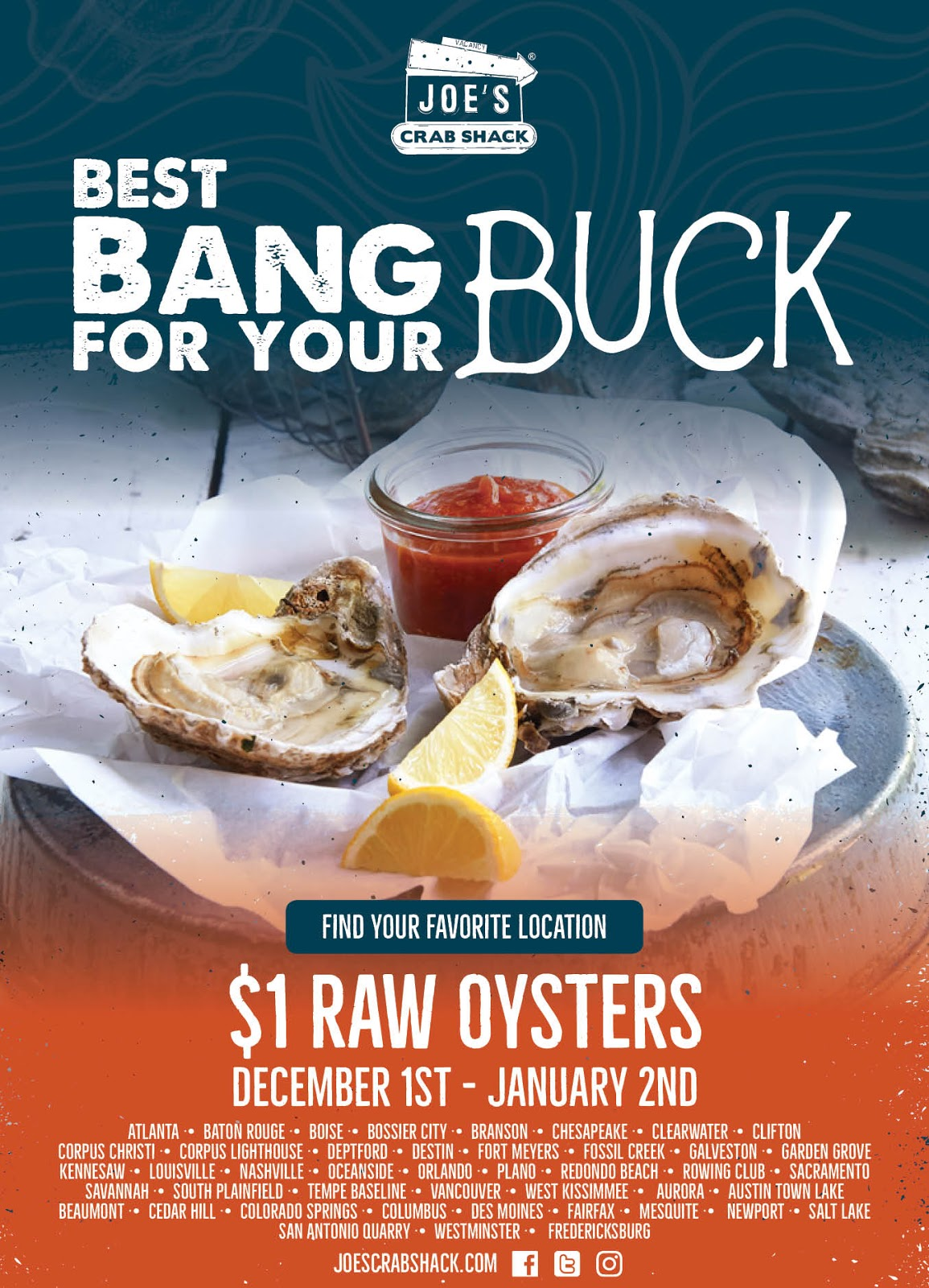 Dec. 1 - Jan 2 |  $1 Raw Oyster Deals @ Joe's Crab Shack