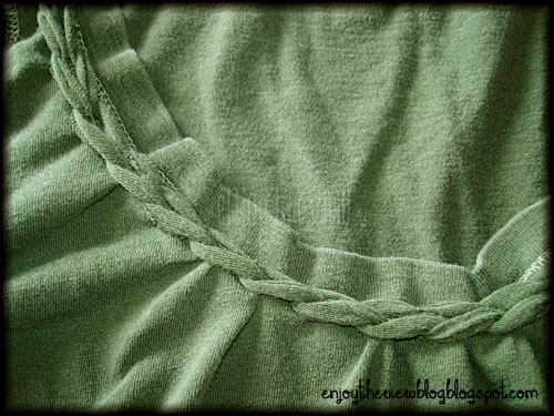 green tee with braided neckine