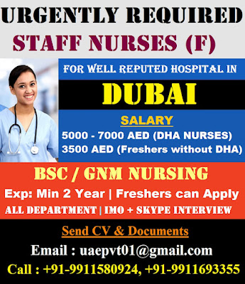 Staff Nurses (F) for a Well Reputed Hospital In Dubai