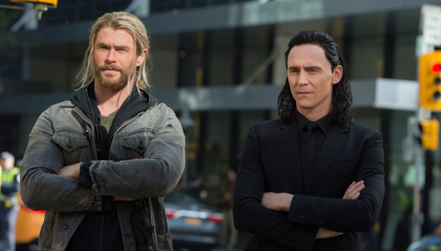 Chris Hemsworth and Tom Hiddleston as Thor and Loki.