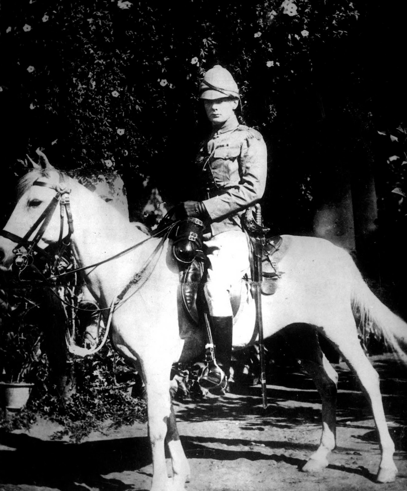 Churchill on horseback in Bangalore, India.