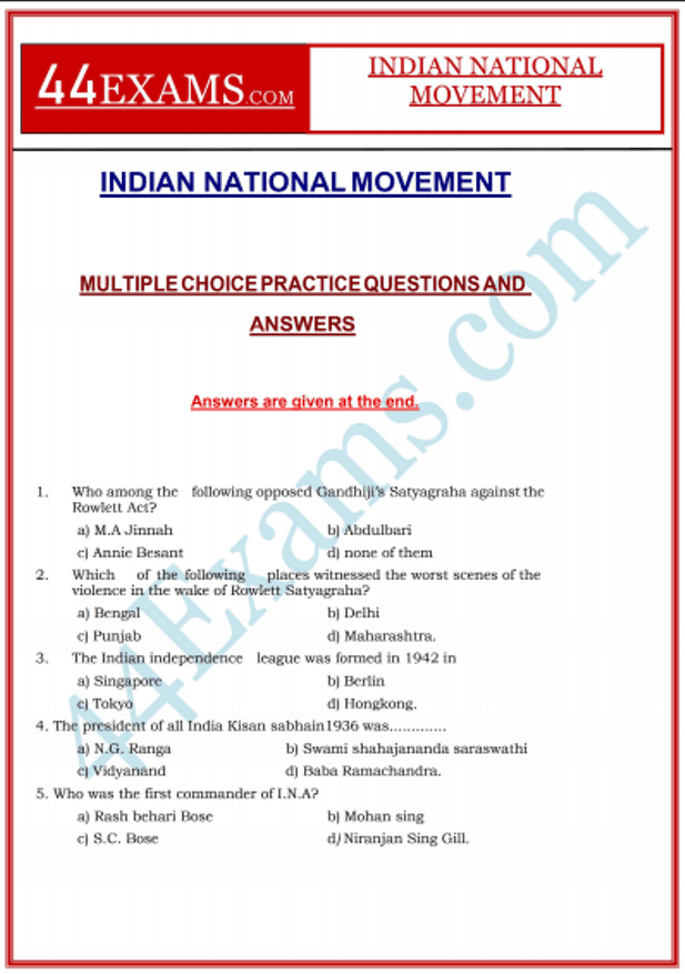 Indian-National-Movement-MCQ-With-Answers-PDF