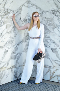 White Belted One Shoulder Jumpsuit Evelyn