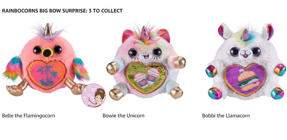 Rainbocorns names Bowie the Unicorn, Bobbi the Llamacorn, or Belle the Flamingocorn