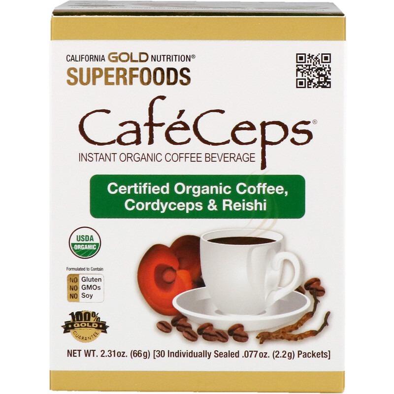 California Gold Nutrition, CafeCeps, органический растворимый кофе с кордицепсом и грибами рейши, 30 пакетиков весом 2,2 г (0,077 унции) каждый