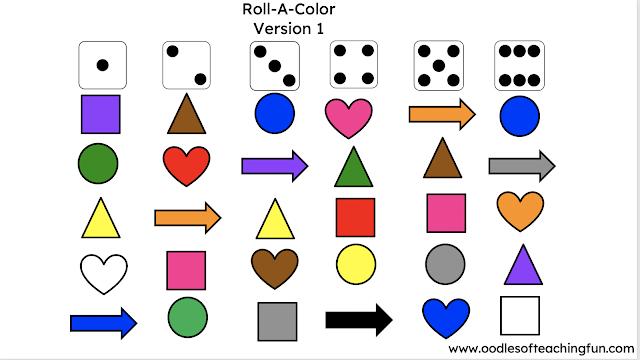 Roll A Color Preschool Practice