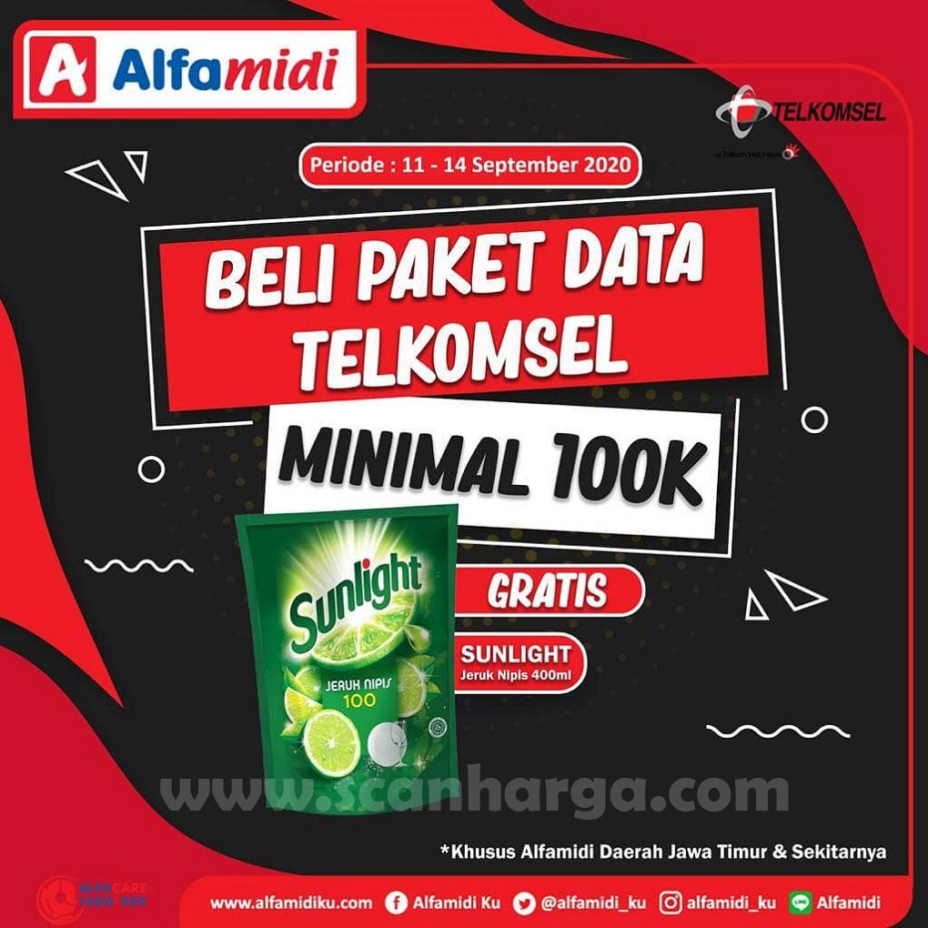 ALFAMIDI Promo Beli Paket Data Telkomsel Minimal 100K Gratis Sunlight 400ml Periode 11 - 14 September 2020