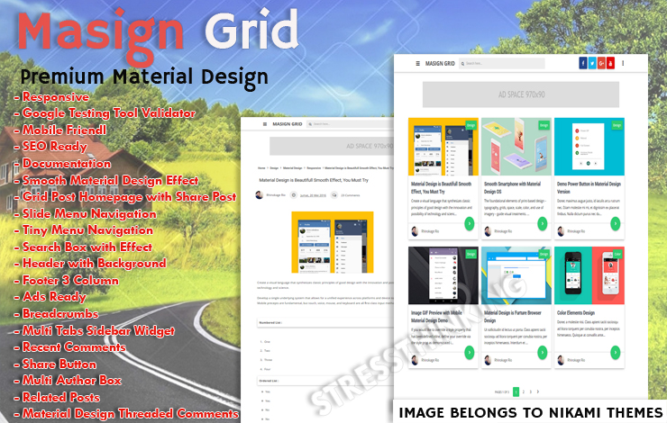 Masign Grid Pro Responsive Blogger Template