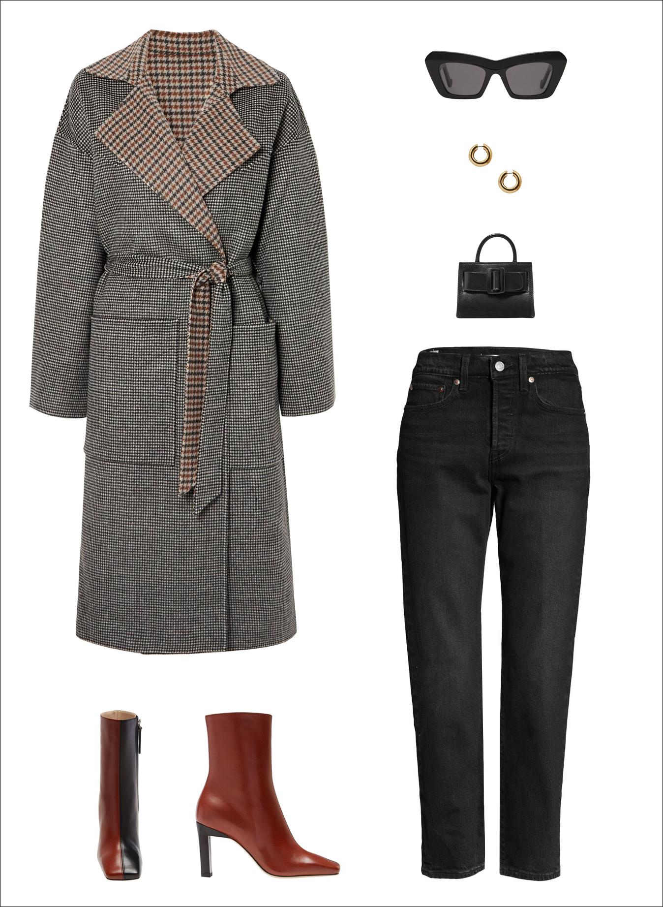 Winter Outfit Idea: Nanushka Alamo Reversible Statement Coat, Black Cat-Eye Sunglasses, Chunky Hoop Earrings, Boyy Mini Bag, Levi's Wedgie Black Jeans and Wadler Isa Two-Tone Sqaure-Toe Boots