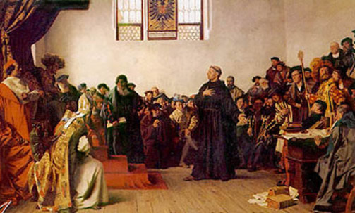 The trial of Martin Luther in Diet of Worms