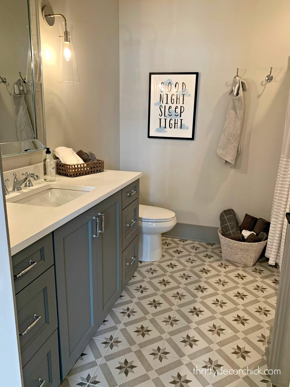 star tile gray vanity bathroom