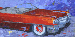 painting automotive cadillac red classic car luxury