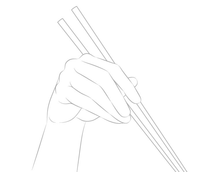 Gambar garis tangan memegang sumpit
