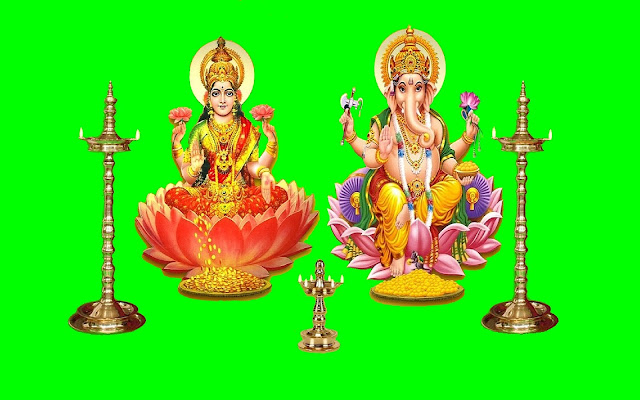 Best Maa Lakshmi & Ganesh / Happy Diwali  Wallpaper In Green Background