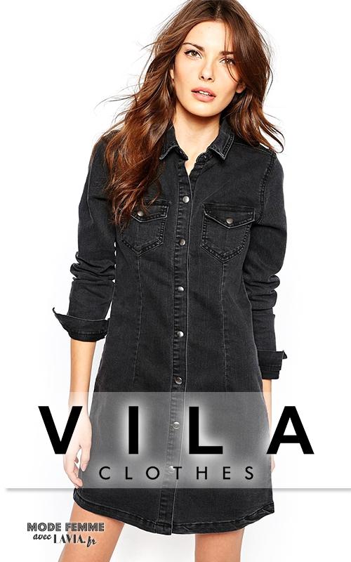 Robe courte en jean noire Vila