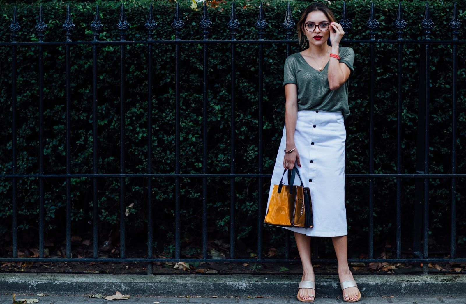 Whitney's Wonderland UK Top Luxury Fashion Blogger Influencer's 5 tips on how to transform a basic look wearing And Other Stories button denim skirt and Hermes orange hapy leather bracelet.