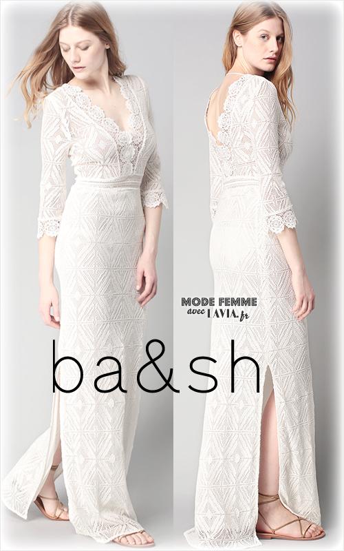 Robe longue blanche Kya au crochet BA&SH