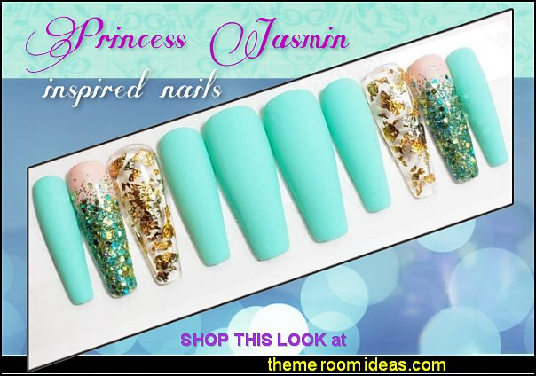 PRINCESS JASMINE Handmade Gel Press Ons - Mint Nails - Glitter Nails - Fake Nails nail art decorations