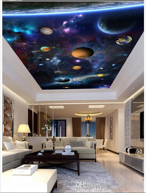 Planet and stars 3d false ceiling designs