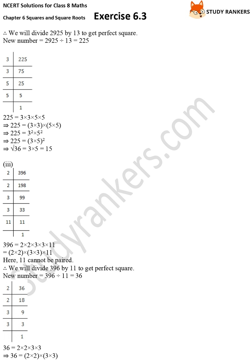 NCERT Solutions for Class 8 Maths Ch 6 Squares and Square Roots Exercise 6.3 15
