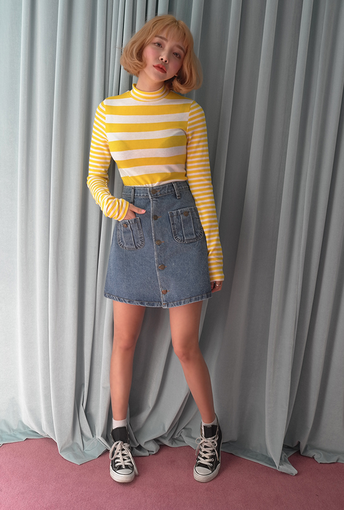 Patch Pocket Buttoned Front Denim Skirt