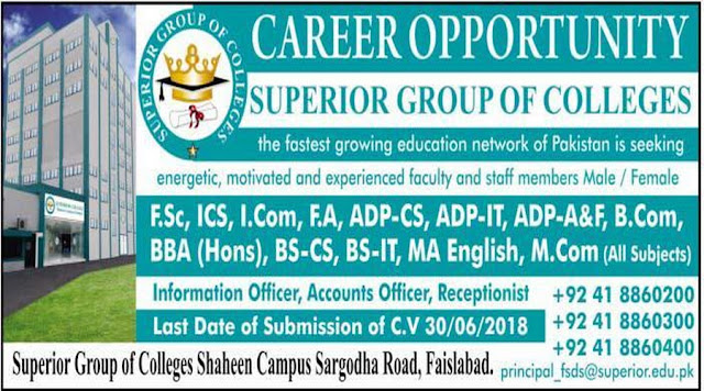 Superior College Faisalabad Teaching Jobs