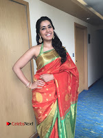 Raashi Khanna Super Cute in Sleevless Blouse and Silk Saree