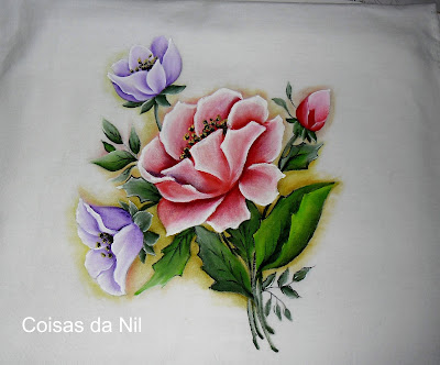 pintura em tecido flor ecobag