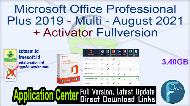 Microsoft Office Professional Plus 2019 – Multi – August 2021 + Activator Fullversion
