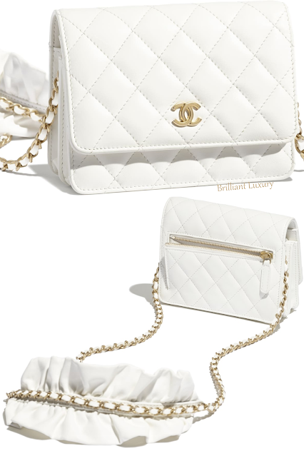Chanel white lambskin mini wallet on gold chain bag #brilliantluxury