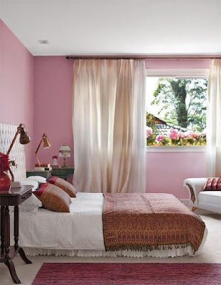 Beautiful bedroom accent wall idea with pink wall paint color