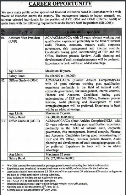 ZTBL Bank Jobs 2019 for Officer Grade-I,Grade-II & AVP Apply Online Latest