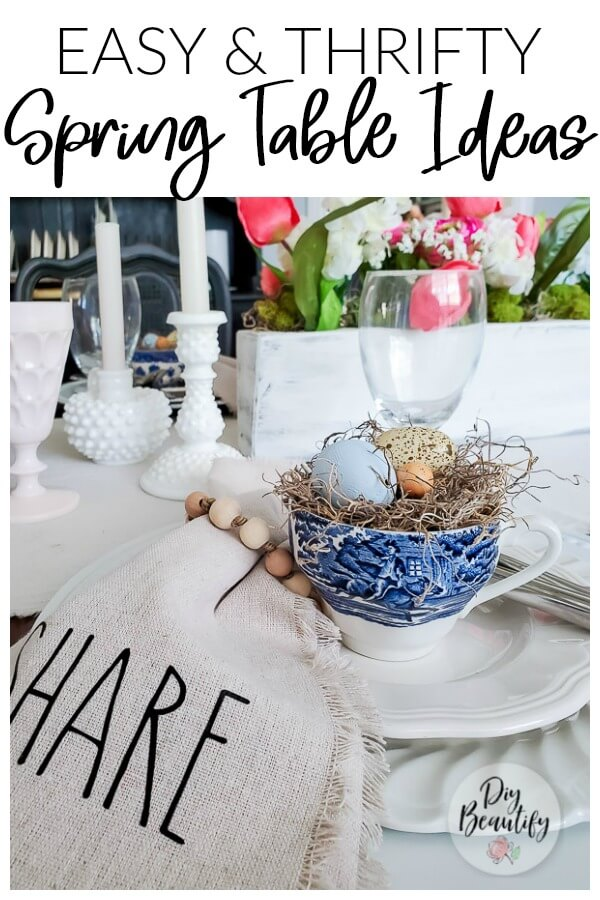 Spring table decor with vintage and modern mix
