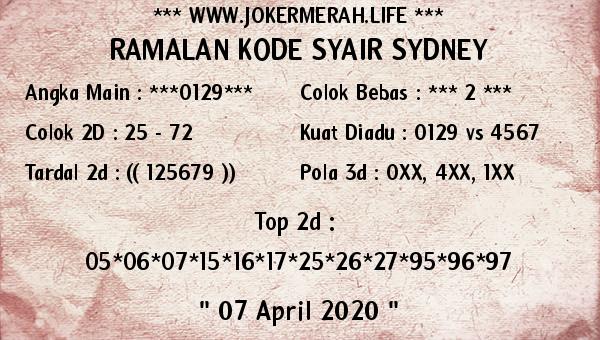 Prediksi Togel Sidney Selasa 07 April 2020 - Joker Merah Sidney