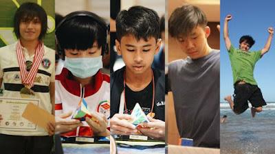Lima pemain rubik asal Indonesia yang masuk peringkat lima nasional menyelesaikan rubik Pyraminx