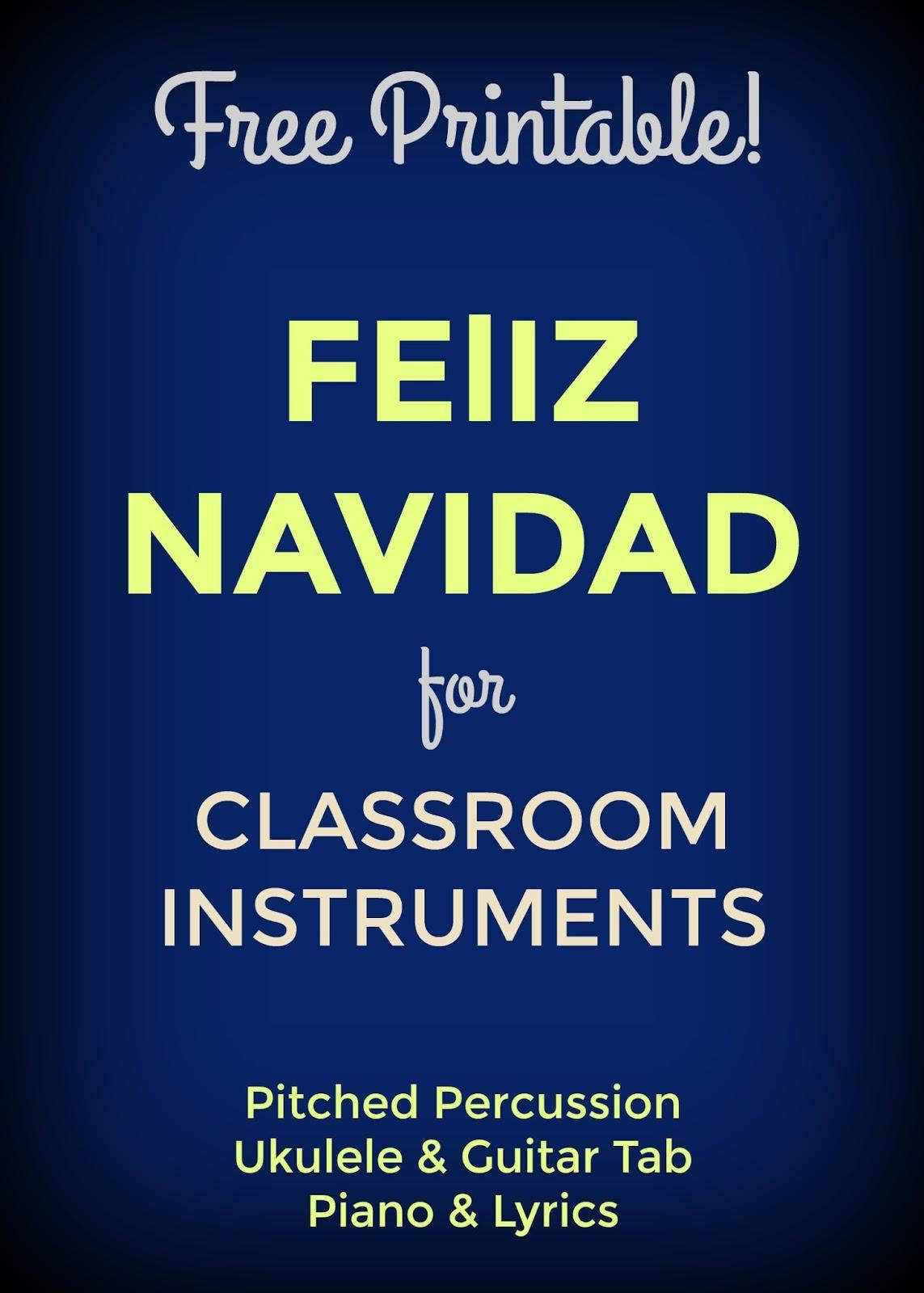 Feliz Navidad Key Of C For Classroom Instruments Bernadette