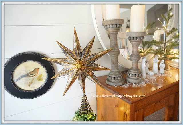 Cottage- Farmhouse -Christmas- Foyer-Pottery-Barn-Star-Tree-Topper-French-Country-From My Front Porch To Yours