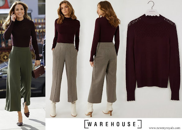 Kate Middleton wore Warehouse Pointelle High Neck Jumper