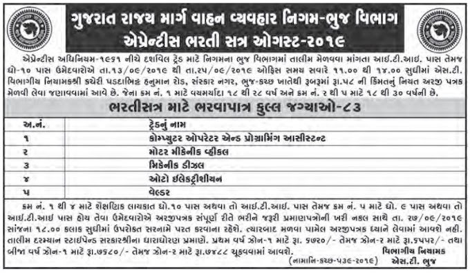 GSRTC Bhuj Apprentice Recruitment 2020