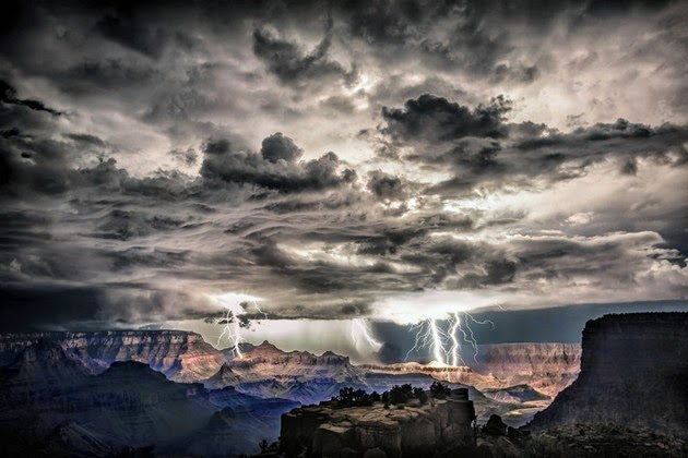 Lightning after dark at the Grand Canyon