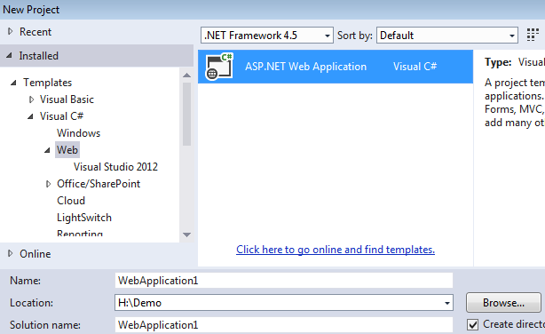 Creating asp.net mvc 5 application