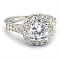Round Cut Cubic Zirconia Halo Engagement Ring in Sterling Silver