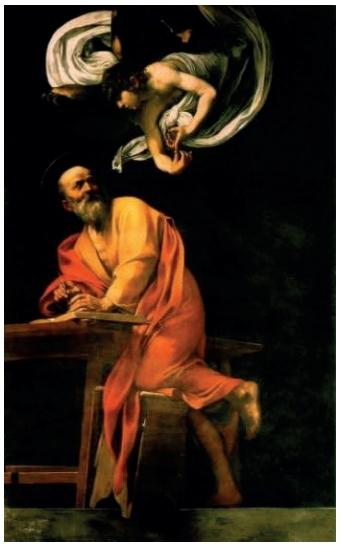 """Caravaggio (1571-1610). """"A inspiração de São Mateus"""" (1602)."""