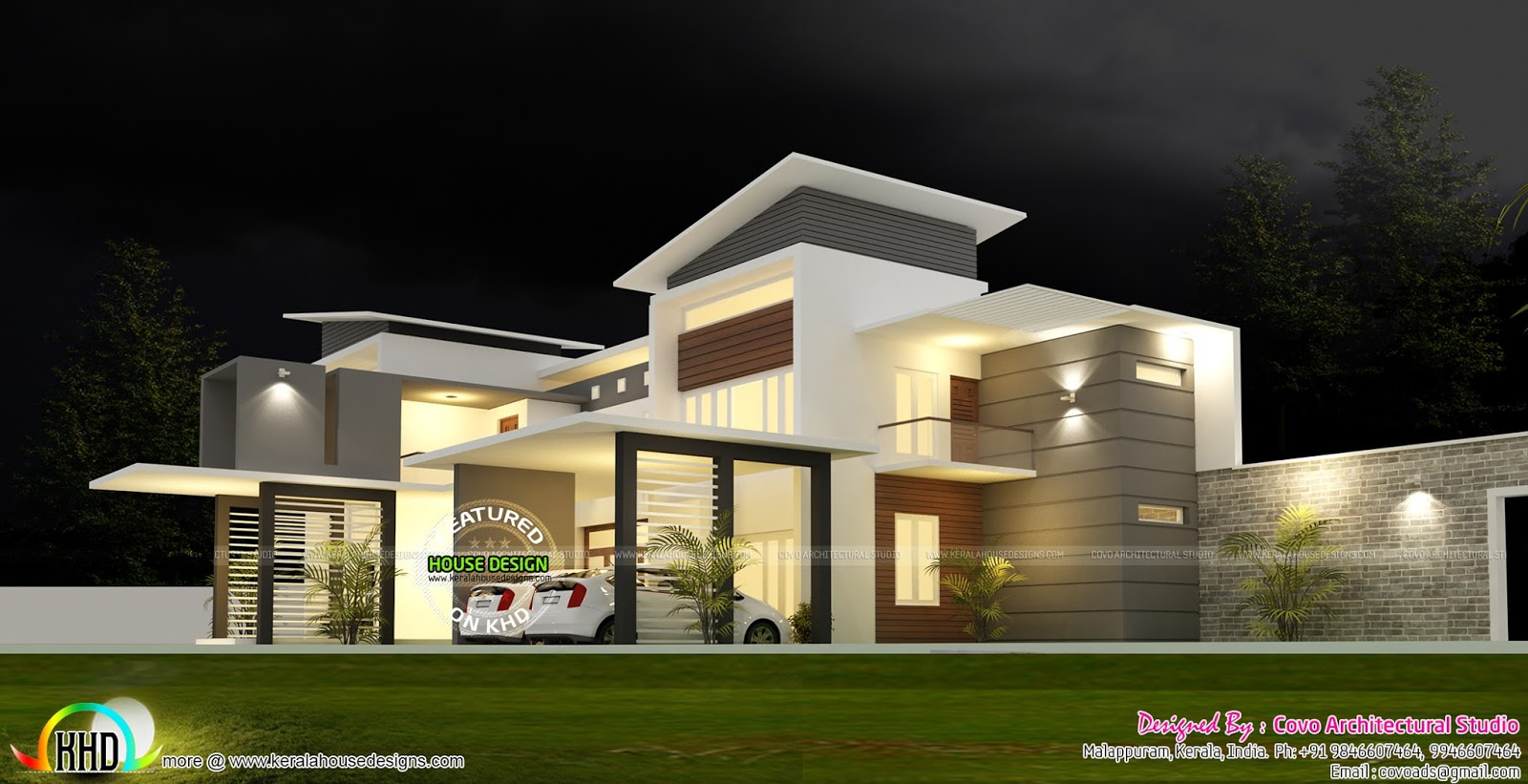 5 bedroom modern contemporary house kerala home design for Modern 5 bedroom house floor plans
