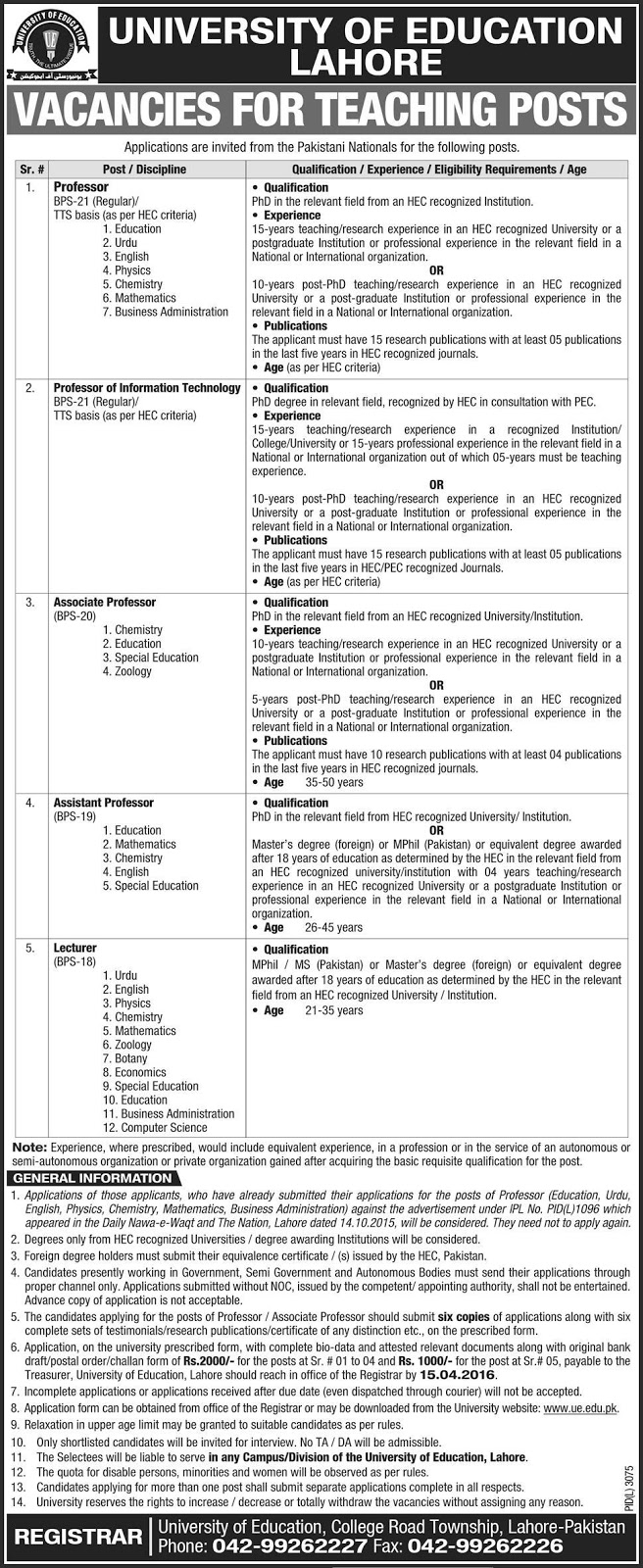 Lecturers Jobs in University of Education Lahore