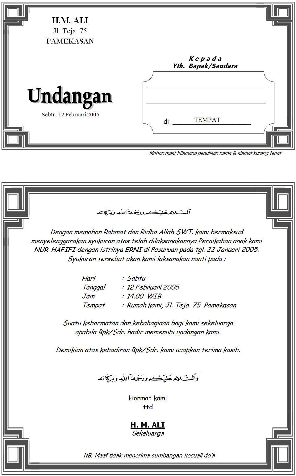 Contoh Undangan Syukuran Pernikahan Islami Remaja Muslim